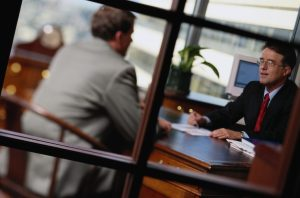 accountant talking to client